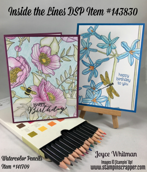 stampin up, Stampin' Up! Inside the Lines Designer Series Paper #143830, Watercolor Pencils #141709, Circle of Spring #138964, Rose Wonder #140697,  created by Stampin Scrapper, for more ideas, cards, gifts, scrapbooking and 3D projects go to stampinscrapper.com