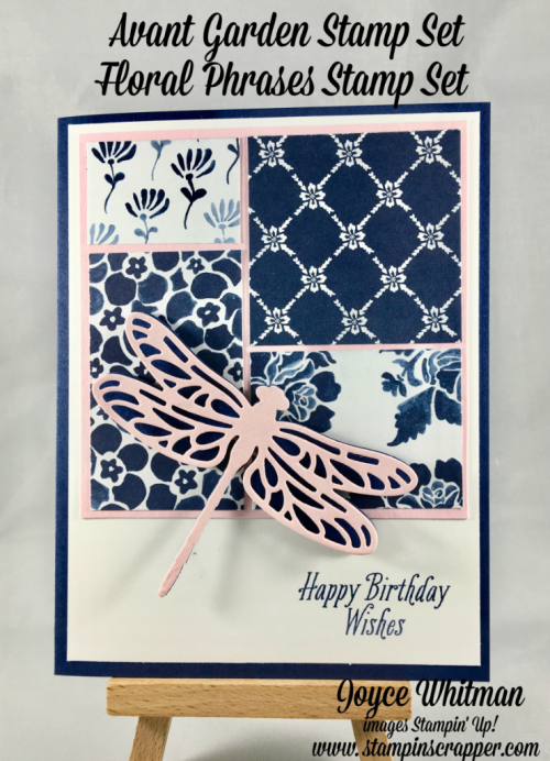 stampin up, Stampin' Up! Avant Garden #143272, Floral Phrases #141767, Floral Boutique DSP #141663, Detailed Dragonfly Thinlits #142749, created by Stampin Scrapper, for more cards, gifts, ideas, scrapbooking and 3D projects go to stampinscrapper.com