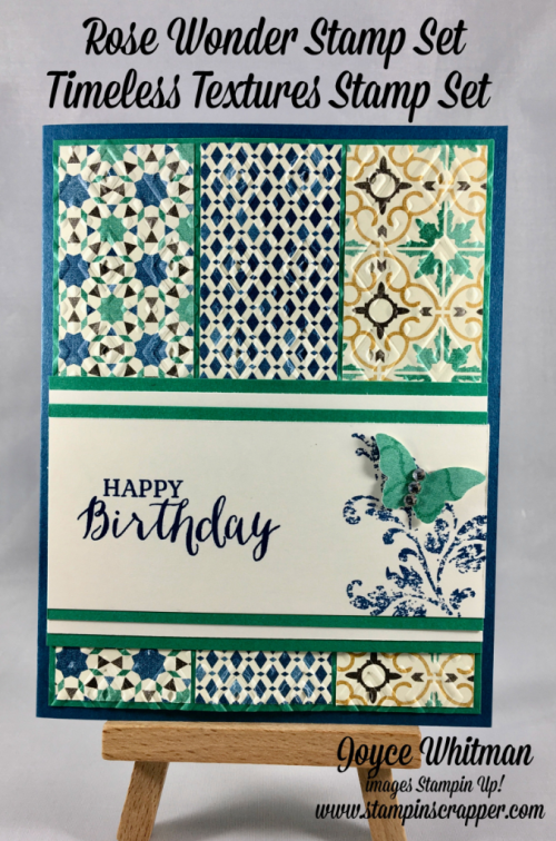 Stampin up, Stampin' Up! Rose Wonder #140697, Timeless Textures #140517, Moroccan DSP #141465, bitty Butterfly Punch #129406, Boho Chic Embossing Folder #138286, Rhinestones #119246, designed by Stampin Scrapper, for more cards, gifts, ideas, scrapbooking and 3D projects go to stampinscrapper.com