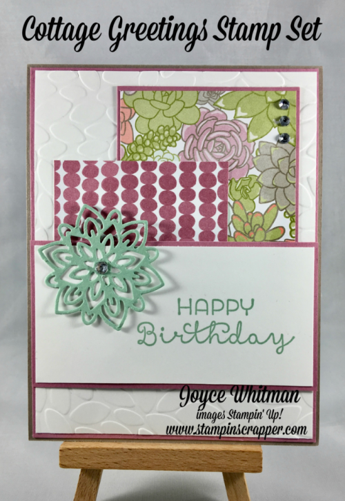 stampin up, Stampin' Up! Cottage Greetings #139962, Succulent Garden DSP #142778, Petal Burst Embossing Folder #141493, Flourish Thinlits #141478, designed by Stampin Scrapper, for more cards, gifts, ideas, scrapbooking and 3D projects go to stampinscrapper.com