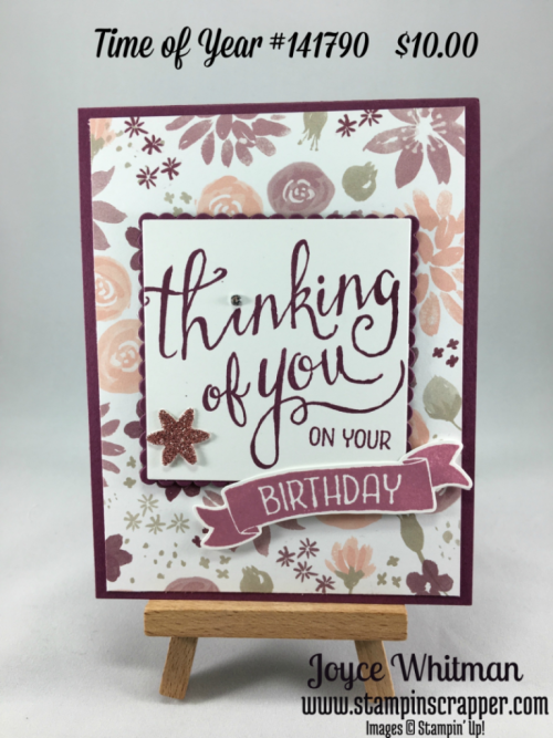 stampin up, Stampin' Up! Time of Year #141790, Blooms and Bliss Designer Series Paper #141654, esigned by Stampin Scrapper, please see more card and gift ideas at stampinscrapper.com, Joyce Whitman