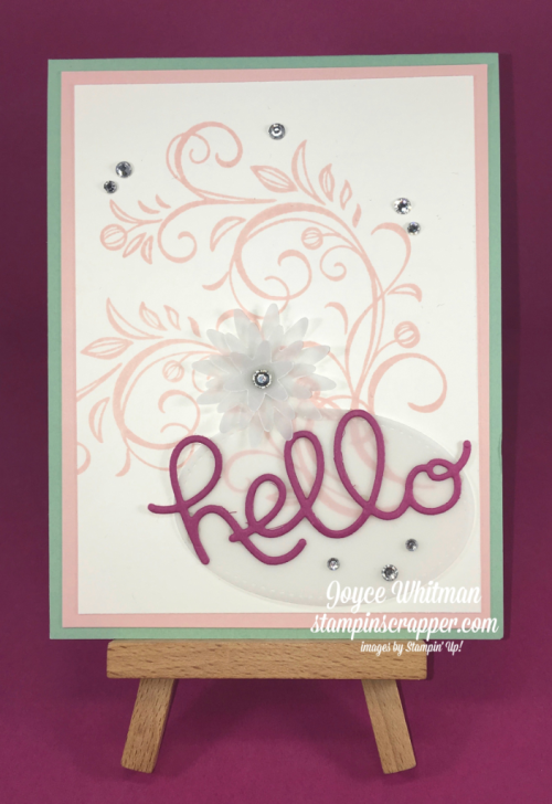 Stampin Up, Stampin' Up! Falling Flower #139556, Hello You Thinlits #137363, Stitched Shapes Framelits #145372, created by Stampin Scrapper, for more cards, gifts, ideas, scrapbooking and 3D projects go to stampinscrapper.com, Joyce Whitman
