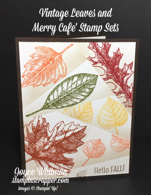 Stampin Up, Stampin' Up Vintage Leaves stamp set #138802, Merry Cafe stamp set #144965, Retiform Technique, designed and created by Stampin Scrapper, for more cards, gifts, ideas, scrapbooking and 3D projects go to stampinscrapper.com, Joyce Whitman