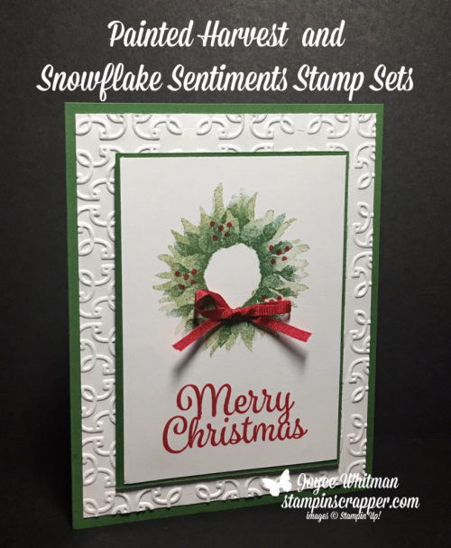 painted harvest and snowflake sentiments christmas card stampin