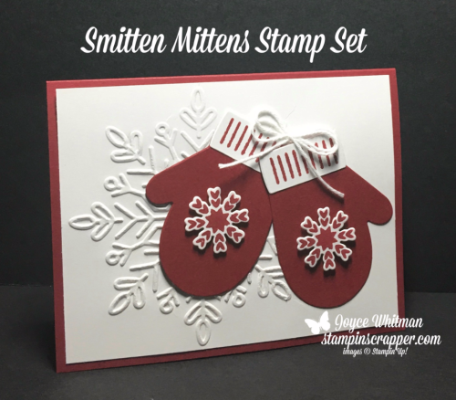 stampin up, Stampin' Up! Smitten Mittens stamp set #144931, Winter Wonder Textured Impressions Embossing Folder #144686, Many mittens Framelits #144672,  created by Stampin Scrapper, for more cards, gifts, ideas, scrapbooking and 3D projects, go to stampinscrapper.com, Joyce Whitman