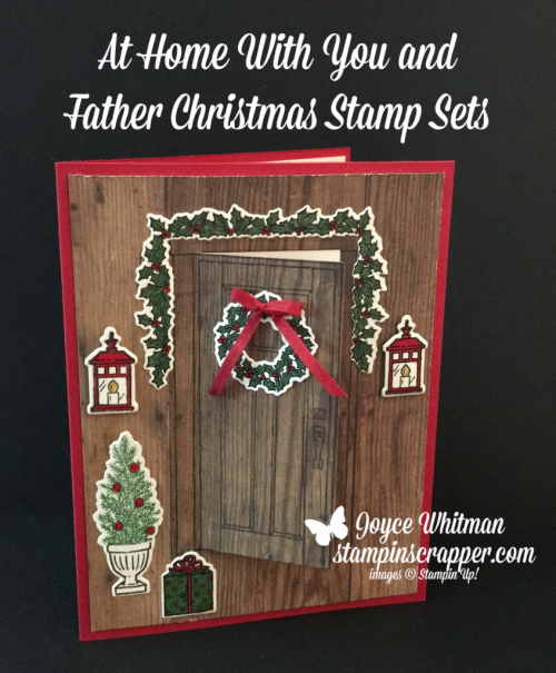 Stampin Up, Stampin' Up! At Home With You stamp set #143681, Father Christmas stamp set #142125, At Home Framelits #143727, Wood Textures DSP #144177, created by Stampin Scrapper, for more cards, gifts, ideas, scrapbooking and 3D projects go to stampinscrapper.com, Joyce Whitman