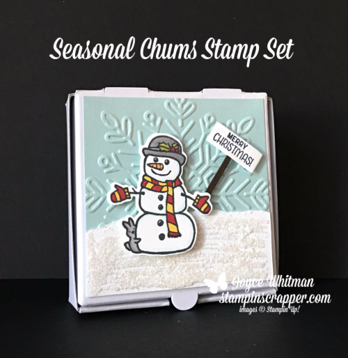 stampin up, Stampin' Up! Seasonal Chums stamp set #144948, The Little Things stamp set #144954, Pizza Boxes #144645, Winter Wonder Embossing Folder #144686, created by Stampin Scrapper, for more cards, gifts, ideas, scrapbooking and 3D projects go to stampinscrapper.com, Joyce Whitman