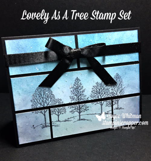 "Stampin Up, Stampin' Up! Lovely As A Tree #127793, 3/8"" Shimmer Ribbon Basic Black #144129, created by Stampin Scrapper, for more cards, gifts, ideas, scrapbooking and 3D projects go to stampinscrapper.com, Joyce Whitman"