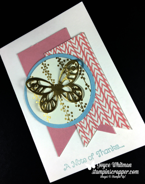 Stampin Up, Stampin' Up! Thankful Thoughts #141522, Bundle of Love Specialty designer series paper #144143, Bold Butterfly Framelits #138135, created by Stampin Scrapper, for more cards, gifts, ideas, scrapbooking and 3D projects go to stampinscrapper.com, Joyce Whitman