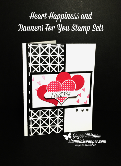 Stampin' Up! Heart Happiness stamp set #145769, Banners For You stamp set #141710, Petal Passion Designer Series Paper #145589, Sweet and Sassy Framelits #141707, Classic Label Punch #141491, created by Stampin Scrapper, for more cards, gifts, ideas, scrapbooking and 3D projects go to stampinscrapper.com, Joyce Whitman
