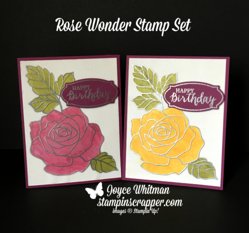 Stampin Up, Stampin' Up! Rose Wonder stamp set #140697, Daffodil Delight Blends #144585, Rich Razzleberry Blends #144583, Old Olive Blends #144573, Rose Garden Thinlits #140619, created by Stampin Scrapper, for more cards, gifts, ideas, scrapbooking and 3D projects go to stampinscrapper.com, Joyce Whitman