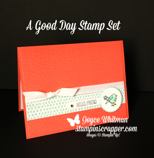 "Stampin Up, Stampin' Up! A Good Day stamp set #145873, Tutti Frutti Cards and Envelopes #147242, 1 3/8"" Scallop Circle Punch #146139, Classic Label Punch #141491 created by Stampin Scrapper, for more cards, gifts, ideas, scrapbooking and 3D projects go to stampinscrapper.com, Joyce Whitman"