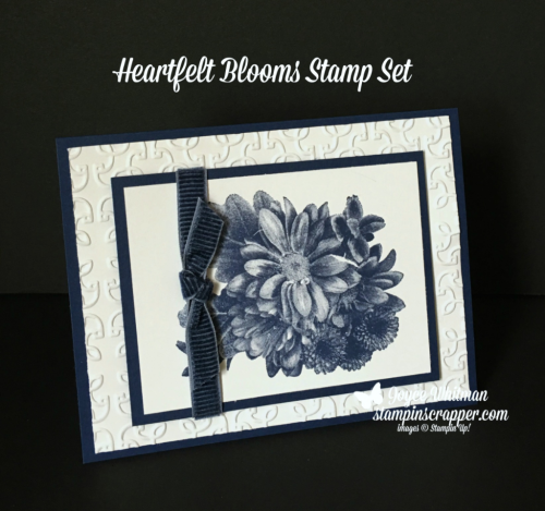 Stampin Up, Stampin' Up! Heartfelt Blooms #147202, Garden Trellis Embossing Folder #143741, Night of Navy Corduroy Ribbon #145597, created by Stampin Scrapper, for more cards, gifts, ideas, scrapbooking and 3D projects go to stampinscrapper.com, Joyce Whitman