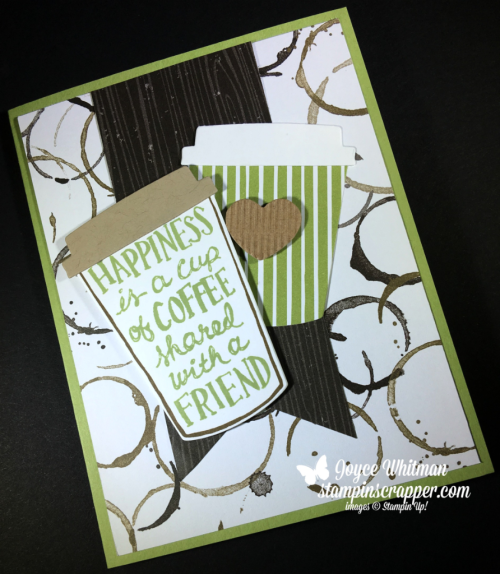 Stampin Up, Stampin' Up! Coffee Cafe' stamp set #143677, Coffee Cups Framelits #143745, Corrugated Elements #144158, Coffee Break DSP #144155, for more cards, gifts, ideas, scrapbooking and 3D projects go to stampinscrapper.com, Joyce Whitman