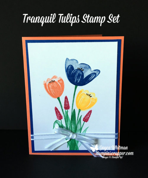 Stampin Up, Stampin' Up! Tranquil Tulips stamp set #143767, Whisper White Organza Ribbon #145590, created by Stampin Scrapper, for more cards, gifts, ideas, scrapbooking or 3D projects, go to stmapinscrapper.com, Joyce Whitman
