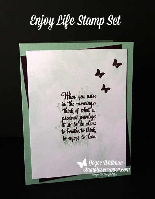Stampin Up, Stampin' Up! Enjoy Life stamp set #148190, CASEing Tuesday, created by Stampin Scrapper, for more cards, gifts, ideas, scrapbooking and 3D projects go to stampinscrapper.com, Joyce Whitman