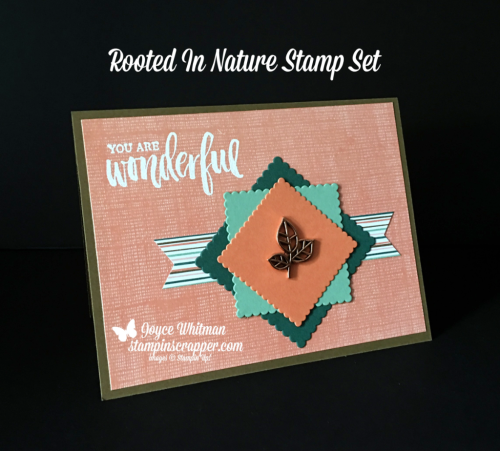 Stampin Up, Stampin' Up! Rooted In Nature stamp set #146482, Layering Square Framelits # 141708, Leaves Trinkets #146343, created by Stampin Scrapper, for more cards, gifts, ideas, scrapbooking and 3D projects, go to stampinscrapper.com, Joyce Whitman