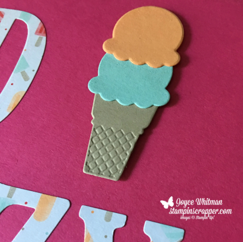 Stampin Up, Stampin' Up! Lazy Days of Summer Scrapbook Page, Tasty Treats designer series paper, Frozen Treats framelits, created by Stampin Scrapper, for more cards, gifts, ideas, scrapbooking and 3D projects, go to stampinscrapper.com, Joyce Whitman