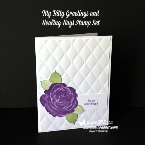Stampin Up, Stampin' Up! Healing Hugs stamp set #146530, Itty Bitty Greetings stamp set #146667, Tufted Embossing Folder #146335, created by Stampin Scrapper, for more cards, gifts, ideas, scrapbooking and 3D projects, go to stampinscrapper.com, Joyce Whitman