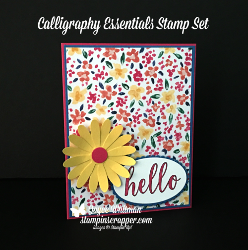 Stampin Up, Stampin' Up! Calligraphy Essentials #146783, Garden Impressions designer series paper #146289, Daisy Punch #143713, Layering Oval Framelits #141706, created by Stampin Scrapper, for more cards, gifts, ideas, scrapbooking and 3D projects go to stampinscrapper.com, Joyce Whitman