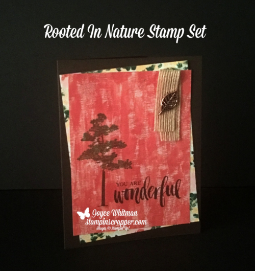Stampin Up, Stampin' Up! Rooted In Nature stamp set #146482, Garden Impressions designer series paper #146289, Leaves Trinkets #146343, Burlap Ribbon #141487 created by Stampin Scrapper, for more cards, gifts, ideas, scrapbooking and 3D projects, go to stampinscrapper.com, Joyce Whitman