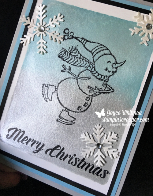 Stampin Up, Stampin' Up! Spirited Snowmen stamp set #148072, Timeless Tidings stamp set #148936, Blizzard Thinlits Die #147902, Frost White Shimmer Paint #147044, created by Stampin Scrapper, for more cards, gifts, ideas, scrapbooking and 3D projects go to stampinscrapper.com, Joyce Whitman
