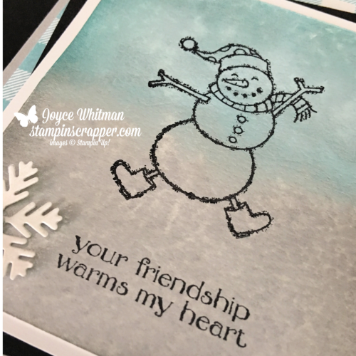 Stampin Up, Stampin' Up! Spirited Snowmen stamp set #148072, Buffalo Check background stamp #147794, Blizzard Thinlits Die #147902, Frost White Shimmer Paint #147044, created by Stampin Scrapper, for more cards, gifts, ideas, scrapbooking and 3D projects go to stampinscrapper.com, Joyce Whitman