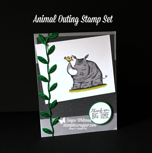 Stampin Up, Stampin' Up! Animal Outing stamp set #146600, Animal Expedition designer series paper #146902, Leaf Ribbon #146905, Stampin Blends markers, created by Stampin Scrapper, for more cards, gifts, ideas, scrapbooking and 3D projects, go to stampinscrapper.com, Joyce Whitman