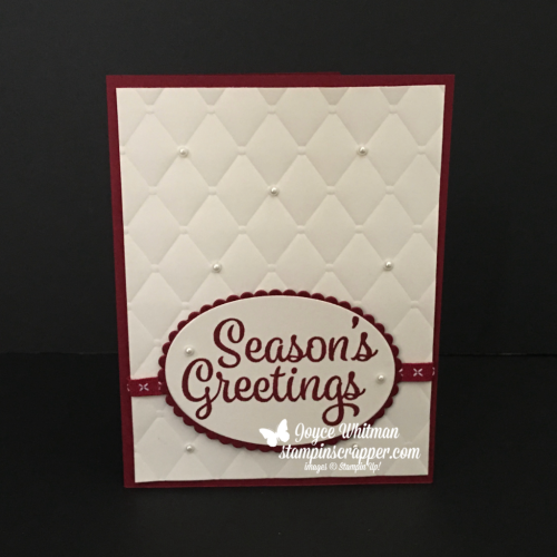 Stampin Up, Stampin' Up! Snowflake Sentiments stamp set #144820, Tufted Embossing Folder #146335, Layering Oval Framelits #141706, created by Stampin Scrapper, for more cards, gifts, ideas, scrapbooking and 3D projects go to stampinscrapper.com, Joyce Whitman