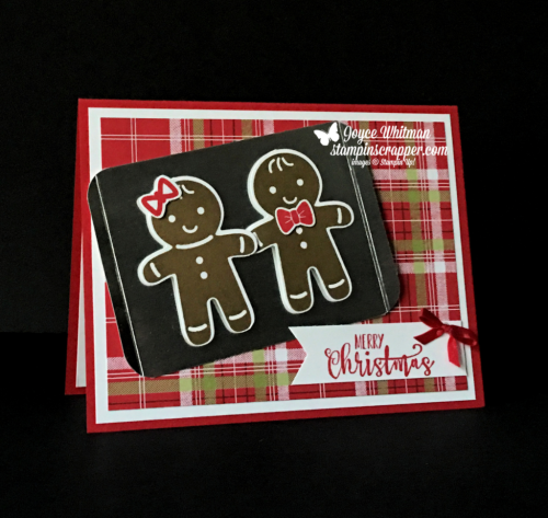 "Stampin Up, Stampin' Up! Cookie Cutter Christmas stamp set #142043, Half Full stamp set #144999, Cookie Cutter Builder Punch #140396, Banner Triple Punch #138292, Detailed Trio Punch #146320, 1/8"" Solid Ribbon - Real Red #144631, created by Stampin Scrapper, for more cards, gifts, ideas, scrapbooking and 3D projects go to stampinscrapper.com, Joyce Whitman"