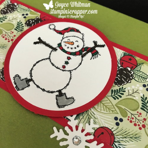 "Stampin Up, Stampin' Up! Spirited Snowmen stamp set #148072, Blizzard Thinlits #147902, Under The Mistletoe designer series paper #146921, Layering Circle Framelits #141705, 2 1/4"" Circle Punch #143720, created by Stampin Scrapper, for more cards, gifts, ideas, scrapbooking and 3D projects go to stampinscrapper.com, Joyce Whitman"