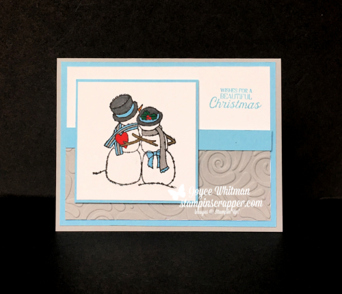 Stampin Up, Stampin' Up! Spirited Snowmen stamp set #148072, Nature Sings stamp set #144406, Swirls & Curles Embossing Folder #147923, created by Stampin Scrapper, for more cards, gifts, ideas, scrapbooking and 3D projects go to stampinscrapper.com, Joyce Whitman