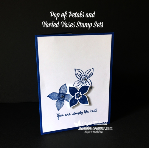 Stampin Up, Stampin' Up! Pop of Petals stamp set #146649, Varied Vases stamp set #146644, Pop of Petals Bundle #148385, Four Petal Flower Punch #147041, created by Stampin Scrapper, for more cards, gifts, ideas, scrapbooking and 3D projects go to stampinscrapper.com, Joyce Whitman