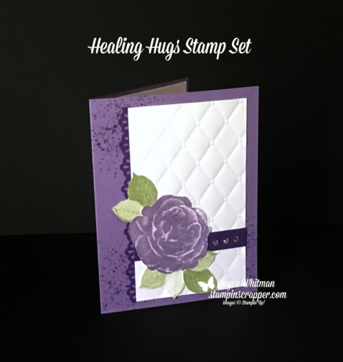 Stampin Up, Stampin' Up! Healing Hugs stamp set #146530, Touches of Texture stamp set #143251, Decorative Ribbon Border Punch #143721, created by Stampin Scrapper, for more cards, gifts, ideas, scrapbooking and 3D projects, go to stampinscrapper.com, Joyce Whitman
