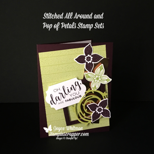 Stampin Up, Stampin' Up! Stitched All Around stamp set #146632, Pop of Petals stamp set #146649, Stitched Shapes Framelits #145372, Swirly Scribbles Thinlits #141497, Layering Squares Framelits #141708, Everyday Label #144668, Four-Petal Flower Punch #147041, created by Stampin Scrapper, for more cards, gifts, ideas, scrapbooking and 3D projects go to stampinscrapper.com, Joyce Whitman