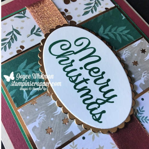 Stampin Up, Stampin' Up! Snowflake Sentiments stamp set #144820, Joyous Noel designer series paper #147816, Merry Merlot & Copper Ribbon #147818, Layering Oval Framelits #141706, created by Stampin Scrapper, for more cards, gifts, ideas, scrapbooking and 3D projects go to stampinscrapper.com, Joyce Whitman