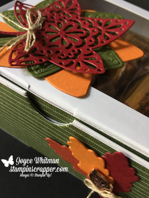 Stampin Up, Stampin' Up! Detailed Leaves Thinlits #147921, Baker's Boxes #147899, Festive Farmhouse designers series paper #147820, Leaves Trinklets #146343, Fall Friday 2018, Week #2, created by Stampin Scrapper, for more cards, gifts, ideas, scrapbooking and 3D projects go to stampinscrapper.com, Joyce Whitman