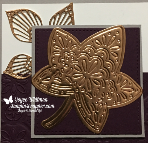 Stampin Up, Stampin' Up! Detailed Leaves thinlits #147921, Tine Tile Embossing Folder #147906, Stitched shapes Framelits #145372, created by Stampin Scrapper, for more cards, gifts. ideas, scrapbooking and 3D projects go to stampinscrapper.com, Joyce Whitman